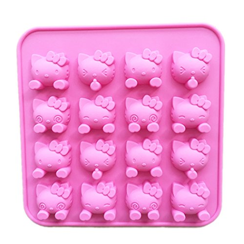 Siliconezone SZ10OM-11304AB 16 Cavity KT Silicone mold for Candy Chocolate Cake Jelly, 18.518.51.8cm, Hello Kitty Faces (Silicone Mold Kitty)