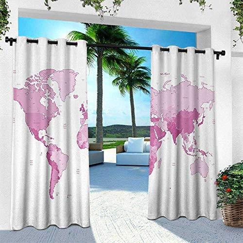 Hengshu Light Pink, Balcony Curtains,Cute World Map Continents Island Land Pacific Atlas Europe America Africa, W96 x L84 Inch, White Pale Pink