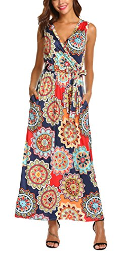 (SimpleFun Womens Bohemian Printed Wrap Bodice Sleeveless Crossover Summer Maxi Dress (Orange,M))
