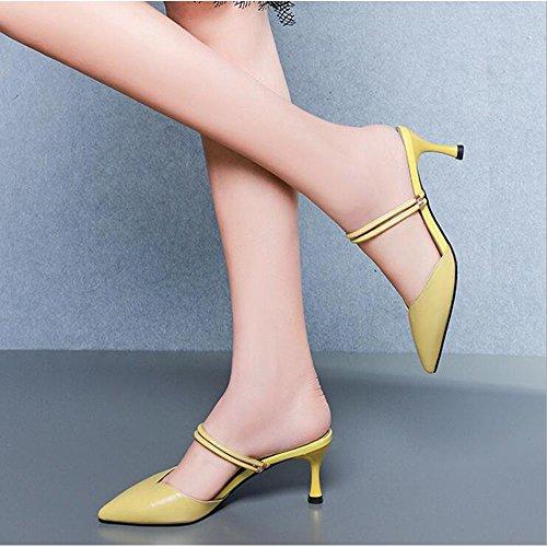 Moda Cuero y Amarillo Zapatos Genuino Tacones Mujer Zapatillas Altos Ropa de Finos Mujer Sandalias Zapatos de qwEZO8B48
