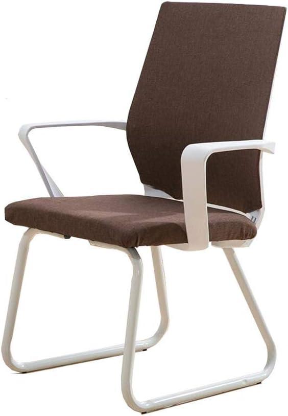 布張りメッシュバックチェア、アームサポート人間工学に基づいたオフィスバックレストレセプションチェア (Color : Brown)