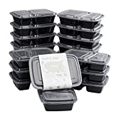 Meal Prep Containers, [20 Pack][40oz] Beyetori 2 Compartment Food Prep Containers, lunch containers with lids - BPA Free, Leak Proof, Stackable, Reusable, Microwave, Dishwasher & Freezer Safe
