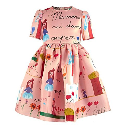 Kimocat Toddler Girls Short Sleeveless Dress, Graffiti Printed Princess Dress Prom Party Sundress for 2-7T (120)