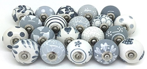 Set of 10 Grey & White Ceramic Door Knobs Vintage Look