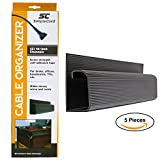 J Channel Desk Cable Organizer by SimpleCord – 5 Black Raceway Channels - Cord Cover Management Kit for Desks, Offices, and Kitchens