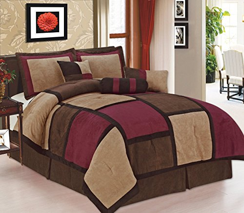 - Legacy Decor 7 Pc Modern Beige Burgundy Brown Suede Comforter SET/BED in a BAG - Queen Size Bedding