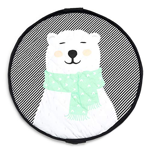Soft Baby Play Mat and Toy Storage Organizer - 2 cm Thick Cotton Floor Activity Mat for Toddlers and Infants - Large Drawstring Portable Bag for Kids Supplies, Toys, Clothes and Diapers - Polar Bear