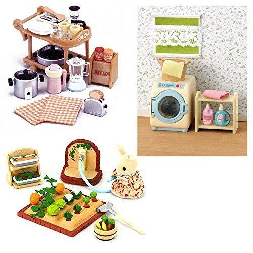 3 Sets - Washing Machine, Kitchen Appliances & Vegetable Garden (Japan (Calico Critters Kitchen Furniture)