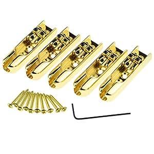golden 5 string bass individual bridge tailpiece guitar parts top load musical. Black Bedroom Furniture Sets. Home Design Ideas