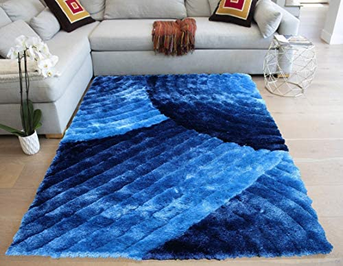 LA 3D Carved Lines Shag Shaggy Fluffy Fuzzy Furry 3-Dimensional Hand Knotted Modern Contemporary Decorative Designer 8-Feet-by-10-Feet Polyester Made Area Rug Carpet Rug Blue Color