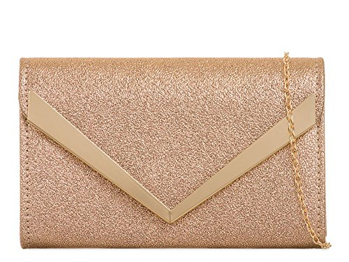 Bag Strap Trim Evening Arrow Faux Handbag Chain Women's Champagne Leather Clutch ZtwWq8Xn1P