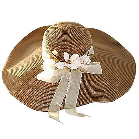 Hyun times Straw hat summer wild beach sunscreen sun protection big beach beach sun hat travel ( Color : Deep coffee (The Middle Season 1 2 3 4)