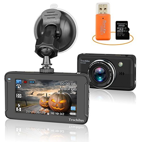 (Car Dash Cam, Halloween Special Edition Full HD 1080P DVR Camera Trochilus with 32GB SD Card and Portable Card Reader, 170 Degree Wide Angle Lens , Night Vision, WDR, G-Sensor,)