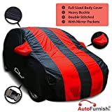 Autofurnish Stylish Red Stripe Car Body Cover For Hyundai Elite I20 - Arc Blue