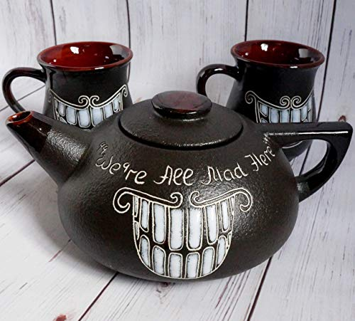 Tea set ceramic, Gift for fan Alice in wonderland, Handmade decor, Cheshire cat teapot, Funny tea set, We're All Mad Here ()