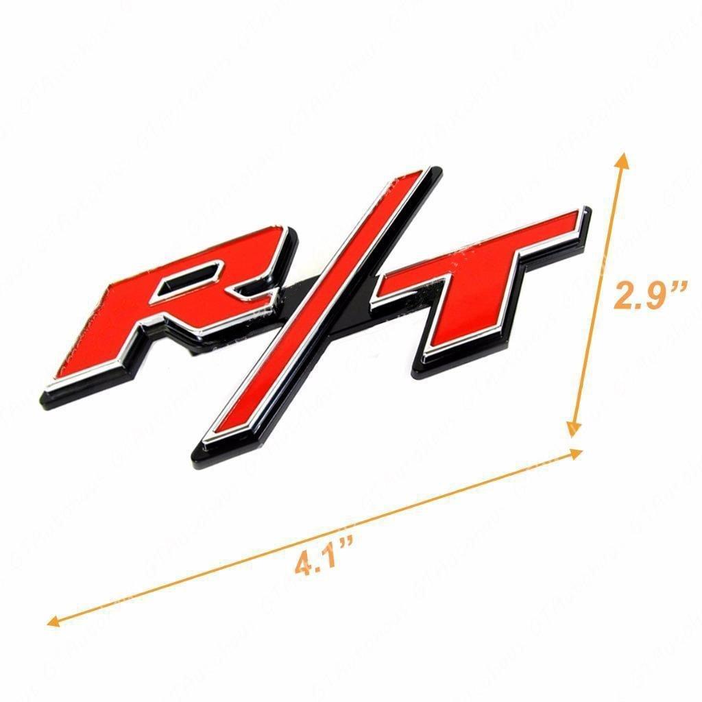 Xotic Tech 1 x Red RT R//T Letter Badge Emblem Sticker for Mopar Dodge Charger Challenger Grille Trunk Lid Xotic Tech Direct