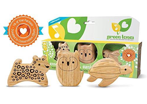 Green Wooden Door (Green Tones/Endangered Animal Shaker Set )