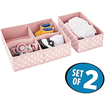 mDesign Soft Fabric Dresser Drawer and Closet Storage Organizer Set for Child/Kids Room, Nursery, Playroom - 2 Pieces, 5 Compartments - Fun Polka Dot Print ...