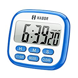 Habor Digital Kitchen Timer, Timer and Clock, with Large Display, Loud Alarm, Magnetic Backing, Stand, Memory Function for Cooking Backing Games Exercise Office