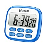 Habor Digital Kitchen Timer, Cooking Timers Clock Multifunction with Big Digits, Loud Alarm, Magnetic Backing Stand, and Memory for Cooking Baking Exercise-Blue/White (Battery not included)