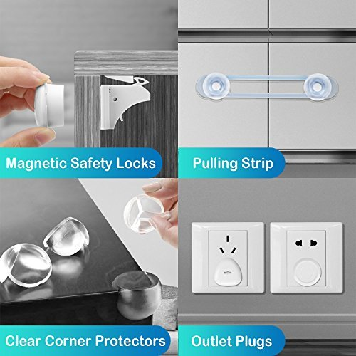 51EMPt n3uL Baby Proofing, 43 Pcs Cabinet Locks Child Safety- 8 Magnetic Cabinet Locks+2 Keys, 16 Clear Corner Protectors, 10 Outlet Plugs, 6 Child Safety Locks, No Drill Required Baby Proof Set    This is our new released for you and your baby, protect your baby from corner and some dangers. Child Proof, 43 Pcs Cabinet Locks Child Safety- 8 Magnetic Cabinet Locks+2 Keys, 16 Clear Corner Protectors, 10 Outlet Plugs, 6 Child Safety Locks, Child Safety Cabinet Magnetic Locks No Drill.