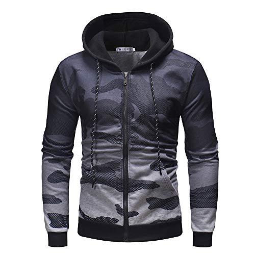iLXHD Men's Casual Camouflage Long Sleeve Hoodie Sweatshirt Zipper Jacket Coat(White,M)