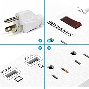 ❤ HITRENDS Surge Protector Power Strip 6 Outlets with 6 USB Charging Ports, USB Extension Cord, 1625W/13A Multiplug for Multiple Devices Smartphone Tablet Laptop Computer (6ft, white)