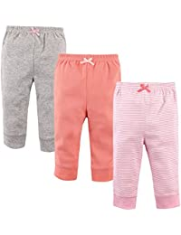 'Luvable Friends Baby Girls 3 Pack Tapered Ankle Pants, Light Pink Stripes, 9-12 Months'