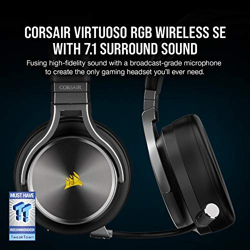 Corsair Virtuoso RGB Wireless SE High-Fidelity Gaming Headset (7.1 Surround Sound, Broadcast-Grade Omni-Directional Microphone with PC, Xbox One, PS4, Switch and Mobile Compatibility) - Gunmetal