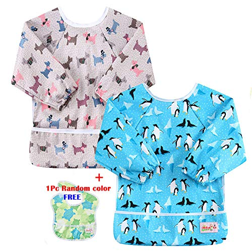 (OHBABYKA Toddler Baby Waterproof Sleeved Bib, 6-24 Months (b5))
