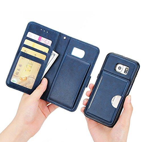 SRY-Funda móvil Samsung S6 monedero funda de la bolsa, con estilo 2 en 1 cubierta de la caja del soporte de cuero de PU Premium desmontable con cierre magnético de remache y ranuras para tarjetas para Blue