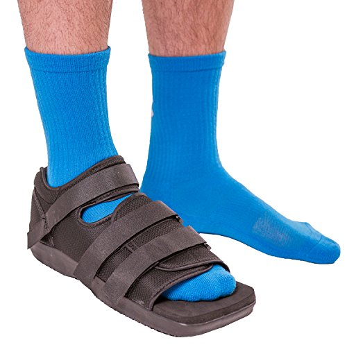 BraceAbility Post-op Shoe for Broken Foot or Toe | Medical/Surgical Walking Shoe Cast Boot, Stress Fracture Brace & Orthopedic Sandal with Hard Sole (LARGE - MALE) ()