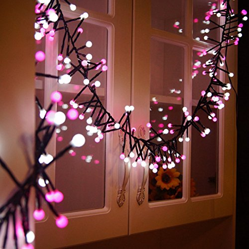 Quntis Christmas Fairy String Lights Pretty LED Decorations Circle Globe Lights for Room Bedroom Bed Outdoor Garden Window Party Home Indoor Outside Backyard and Patio(White and Pink) (Seasonal Display)