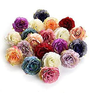 Flower heads in bulk wholesale for Crafts Silk Artificial Peony Flower Head for Garden Wedding Decoration DIY Brooch Fake Flowers Party Birthday Home Decor 20pcs/lot 6cm 92