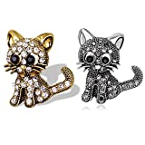 Rose-Summer 2 Pack Jewelry Women's Crystal Cat Pin Brooch