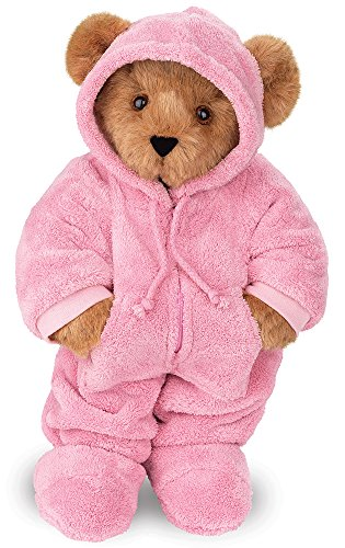 Vermont Teddy Bear - Pink Pajama Bear, 15 inches, Brown with Pink Onesie - Made in the USA made in New England