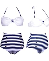 Vintage Blue White Stripe Lace up Secret Swimsuits High Waisted Bikini Swimwear