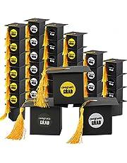 AerWo 36Pcs Graduation Decorations Graduation Gift Box Candy Chocolate Box Grad Cap Boxes for Graduation Party Favors Graduation Party Supplies 2019 (Black)