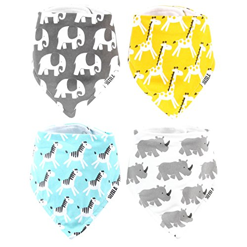 Stadela Baby Bandana Bib Set, 4-Pack Absorbent Soft Cotton Drool and Teething Bandana Bibs, Unisex Baby Shower Gift for Boys & Girls