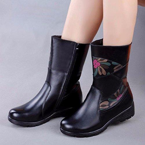 GTVERNH-En La Madre De Mediana Edad Winter Boots Shoes, Zapatos De Mujer Botas De Estilo Folk, Con Fondo Plano Y Pendiente Slip Suede Boots black