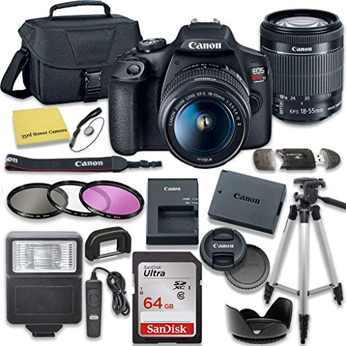 Canon EOS Rebel T7 DSLR Camera Bundle with Canon EF-S 18-55mm f/3.5-5.6 is II Lens + SanDisk 64GB Memory Card + Accessory Kit