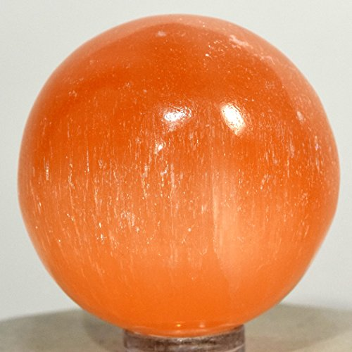 Orange Sphere (41mm Orange Selenite Sphere Natural Sparkling Crystal Ball Polished Mineral Angels Stone - Morocco + Plastic Stand)