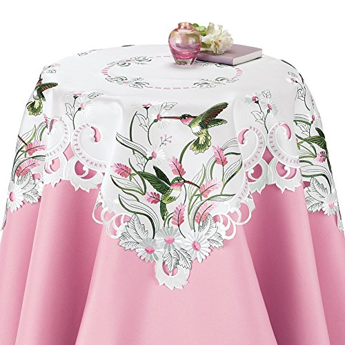 Collections Etc Embroidered Floral Hummingbird Table Linens, Square