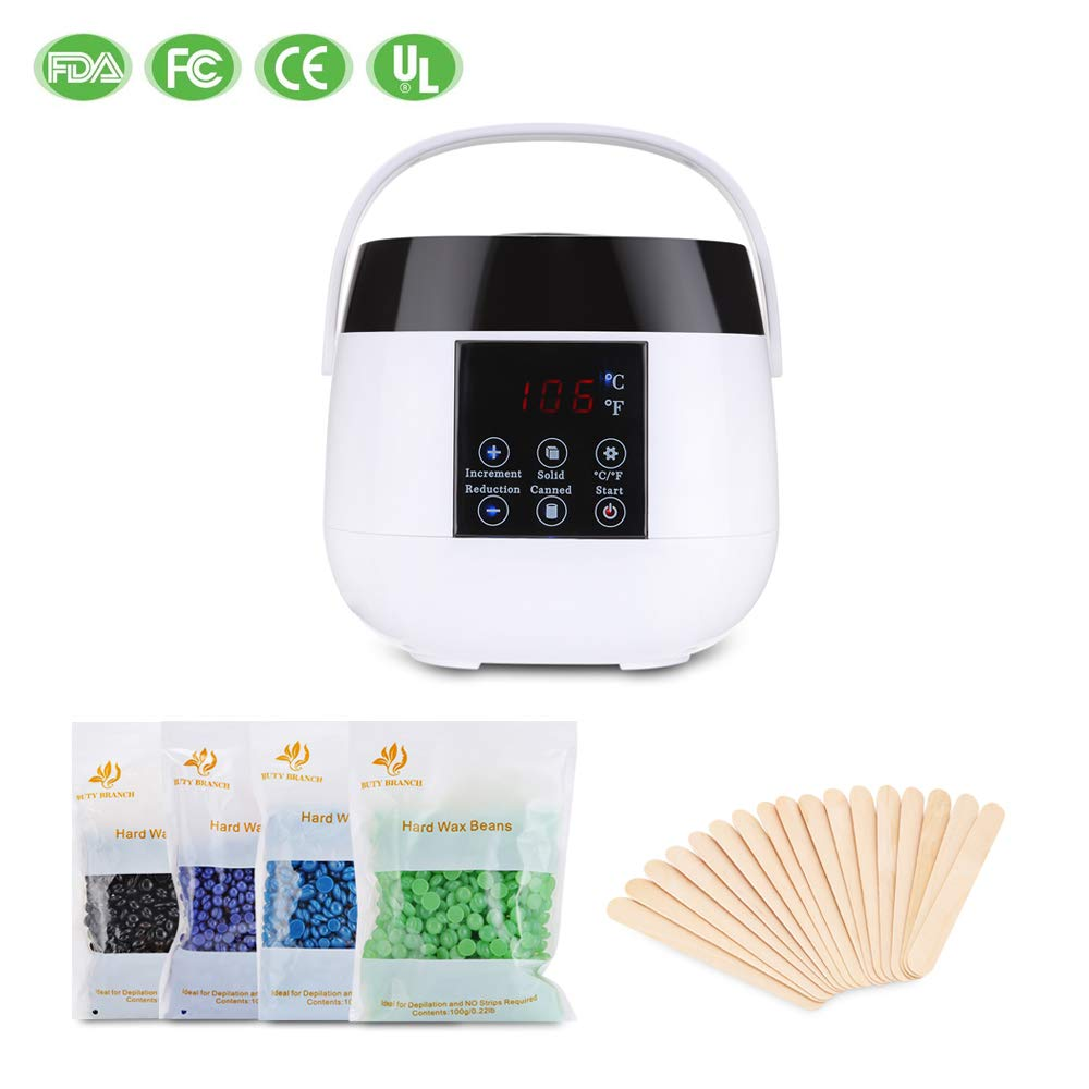 Wax Warmer, Dularf Waxing Heater for Hair Removal LCD Display Wax Pot Hair Waxing Kit with 20 Wax Applicator Sticks and 4 Flavor Hard Wax Beans for Face Legs Body Bikini Lines