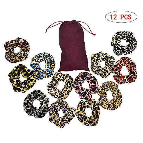 LoveDay 12 Pack Velvet Hair Scrunchies Hair Bands Leopard Print Scrunchies Grain Velvet Scrunchies Animal Print Scrunchy with Free Organizer Bag Hair Ties hair Accessories for Women and