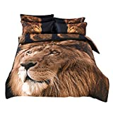 super why toddler bedding - Ammybeddings Twin Size  Lion Bedding Set Cool Lion Printed Single Size Duvet Sheet Set with Comforter 5 PCs Animal Print Duvet Set for Kids