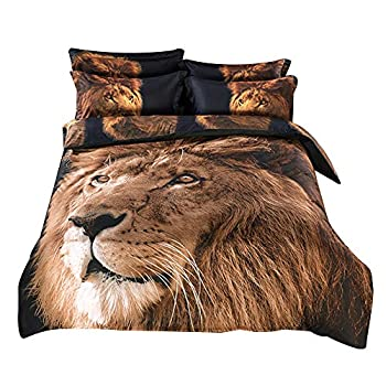 Image of Alicemall Queen 3D Lion Bedding Set with Comforter Statement Cool 3D Lion 5-Piece Comforter Set, Twin/ Full/ Queen/ King/ California King (Queen) Home and Kitchen