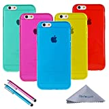 iPhone 6s Plus / 6 Plus Case, Wisdompro 5 Pack Bundle of Clear Jelly Color Soft TPU GEL Protective Case Covers (Blue, Aqua Blue, Hot Pink, Yellow, Red) for Apple 5.5