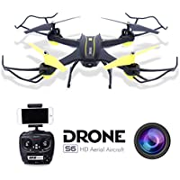 Dwi Dowellin RC Drone With Camera Live Video Wifi FPV With Altitude Hold 2.4G 4CH 6 Axis RC Quadcopter Auto Return Headless System App Controlled S6 Black