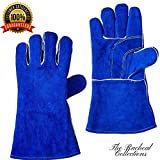 Best BBQ gloves, welding gloves, leather gloves, grill gloves, cooking gloves (1 pair, 2 piece) by The Racheal Collections